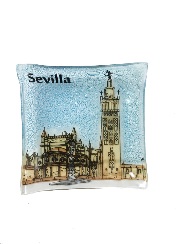 La Giralda and Seville Cathedral handmade glass plate