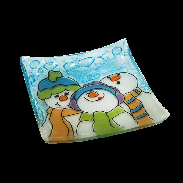 Three snowman handmade glass plate