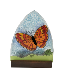 Handmade Butterfly ogi glass Candleholder with wood base