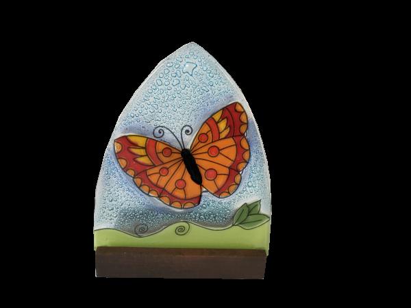 Handmade Butterfly ogi glass Candleholder with wood base
