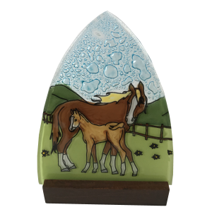 Handmade Horse Family ogi glass Candleholder with wood base