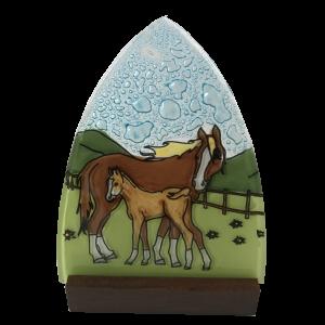 Handmade Horse Family ogi glass Candleholder with wood base